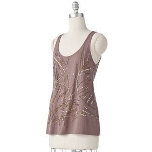 Beaded scrolling taupe knit sleeveless blouse